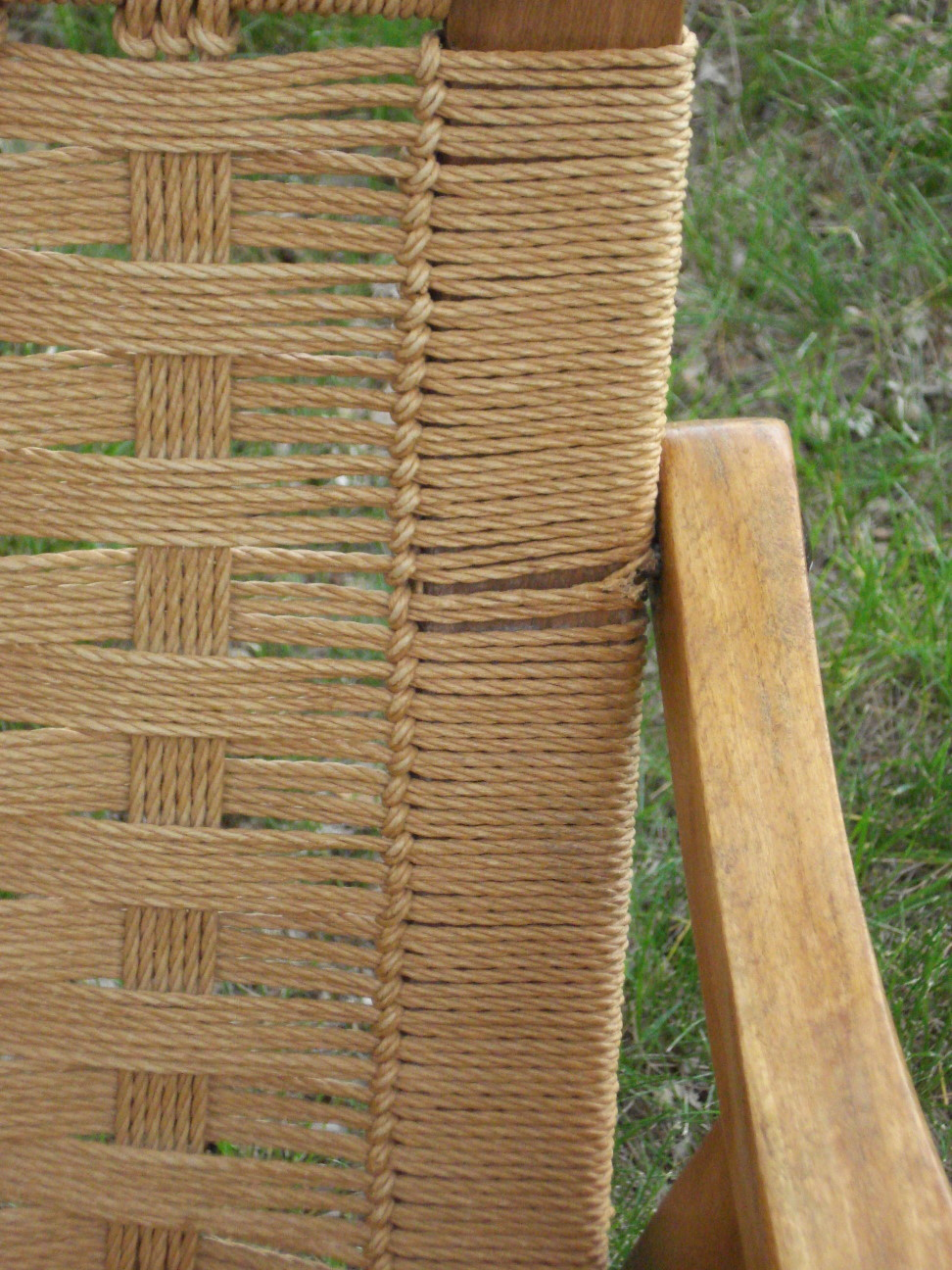 Back detail - Mid-century Yugoslavian Cord Chair