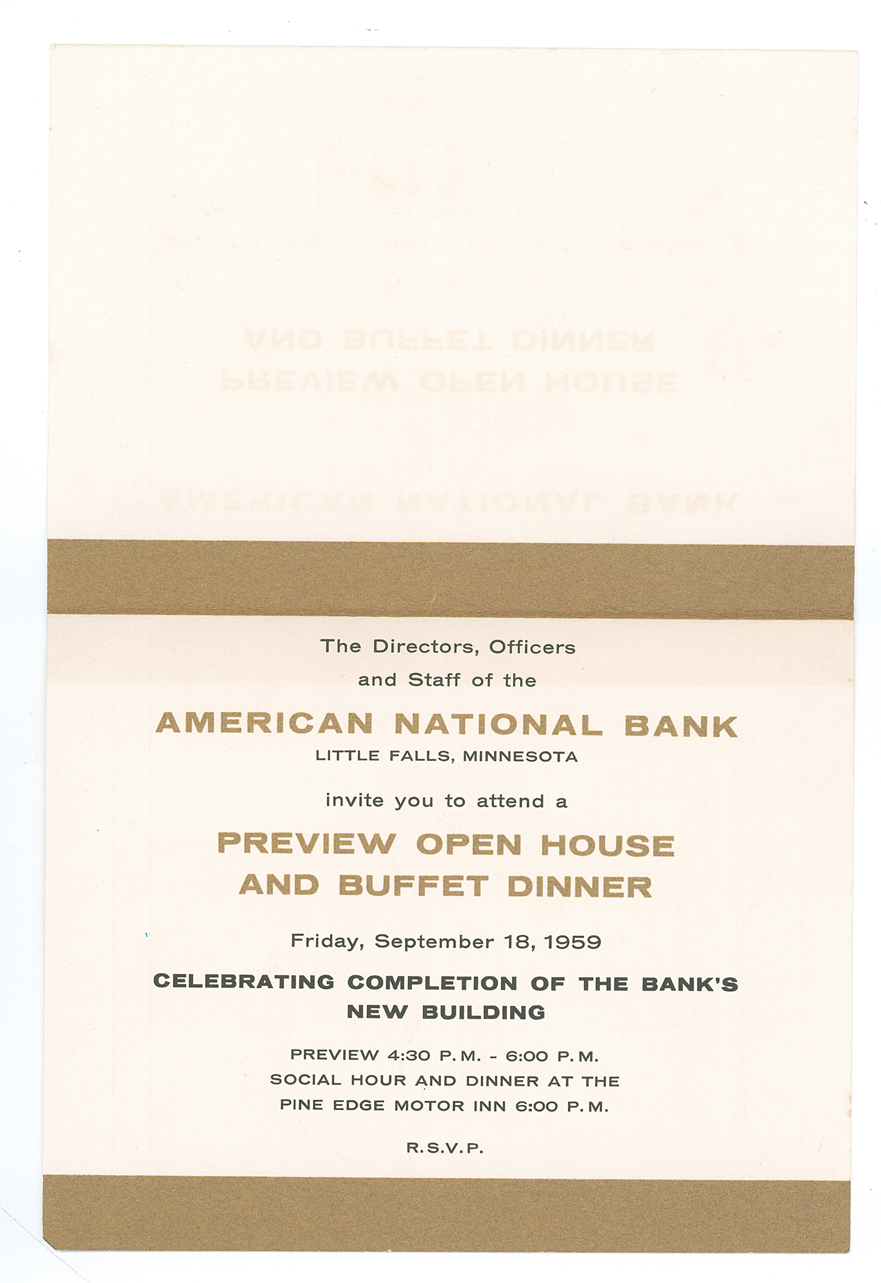 Invitation to grand opening of American National Bank, Little Falls, MN, 1959. Courtesy Morrison County Historical Society.