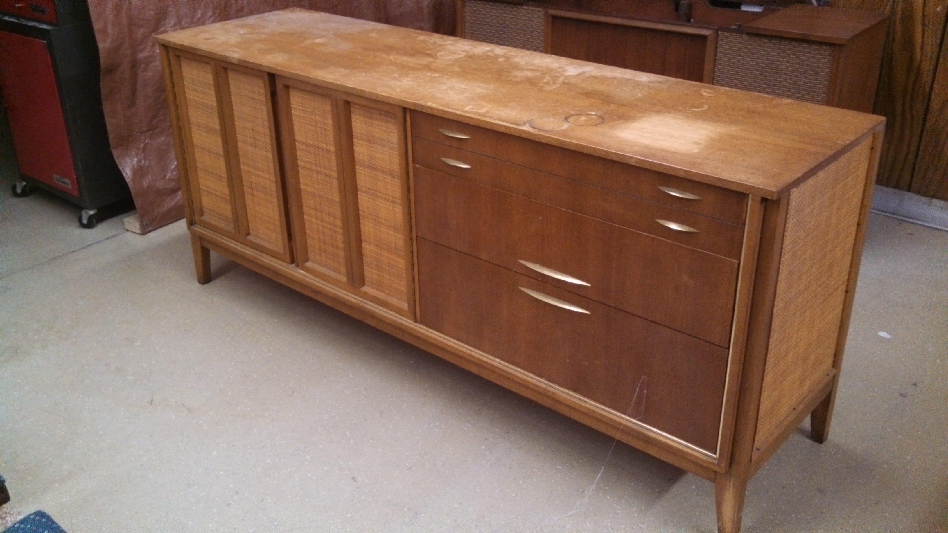 Pic 1 - West Michigan Furniture Co. credenza as found, stains on top, compression damage, split front leg.