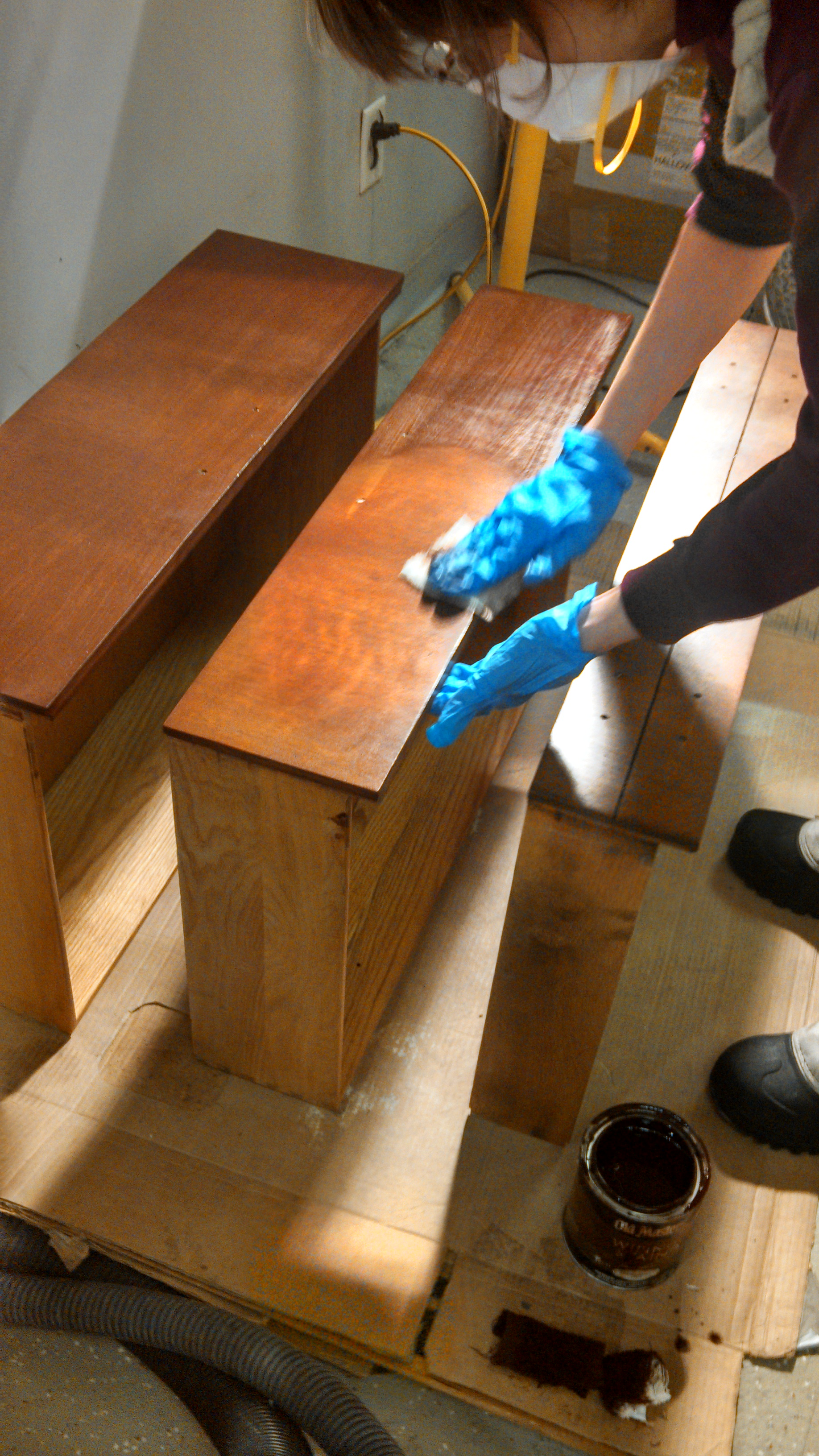 Pic 9 - After pre-treatment, apply stain. For this project we used Old Masters brand American Walnut Wiping Stain.