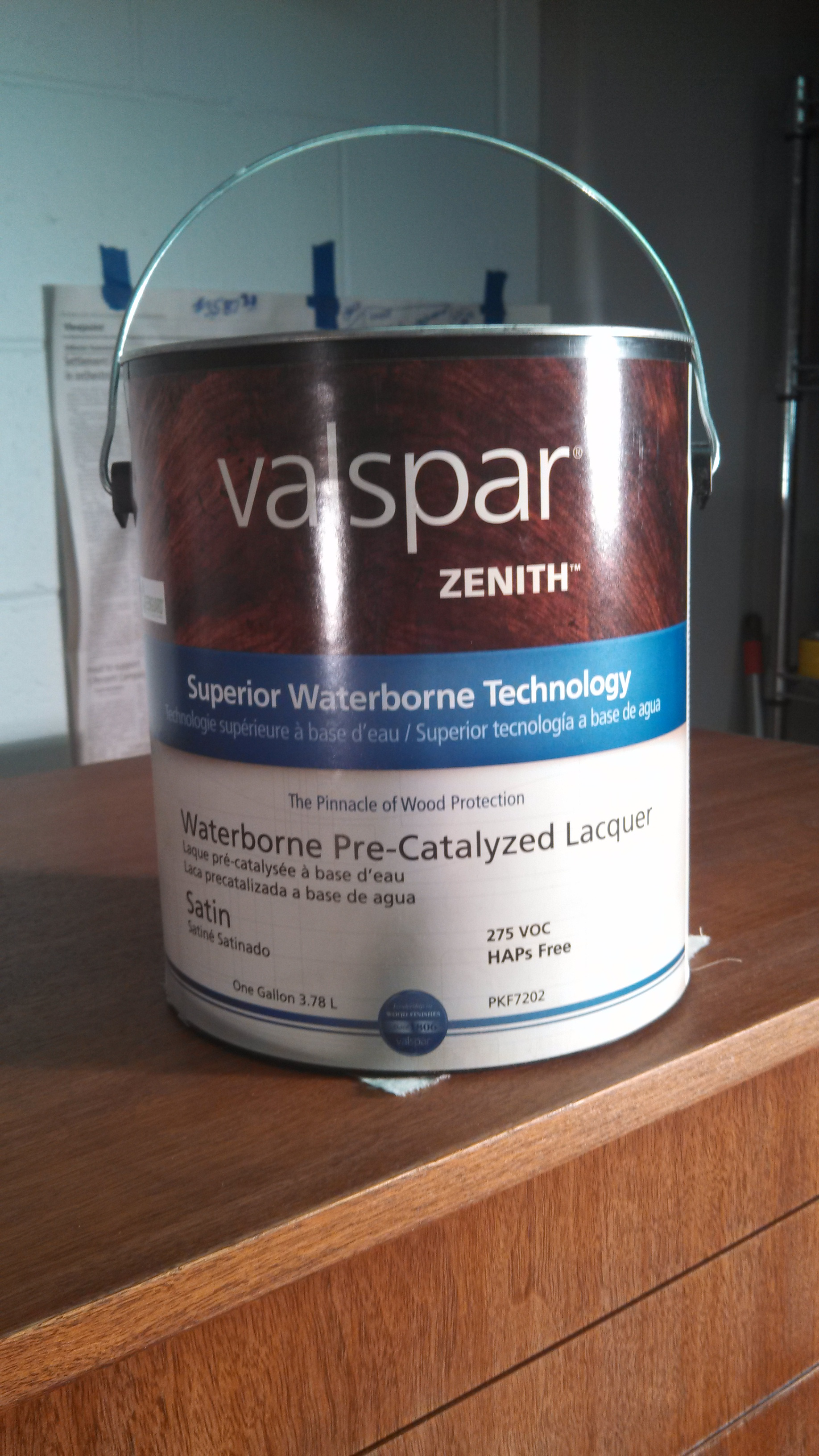 Pic 10 - After staining the piece, lacquer was applied as a top coat. We're trying to transition to environmentally sensitive products in our restoration work and to that end, used Valspar's Zenith Waterborne Lacquer. Zenith is a Greenguard Certified product.