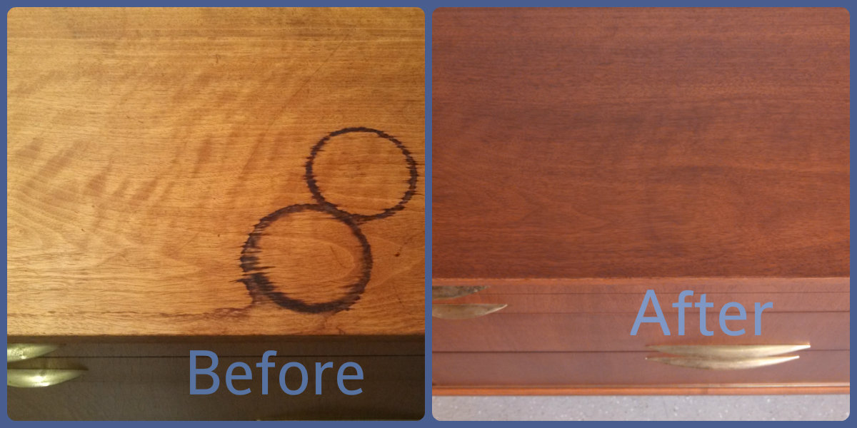 Before & After shot of coffee stains.