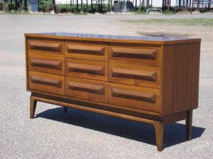 9-drawer low boy dresser refinished by Erik G. Warner