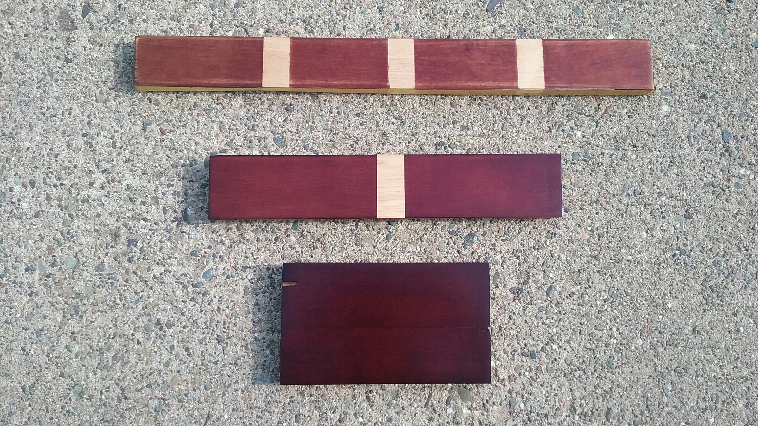 Erik Warner's refinishing test swatches, May 2017.