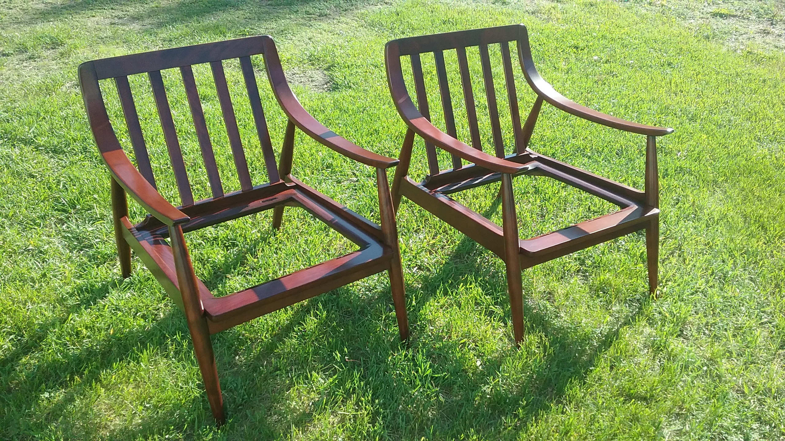 Lounge chairs refinished by Erik Warner, May 2017.