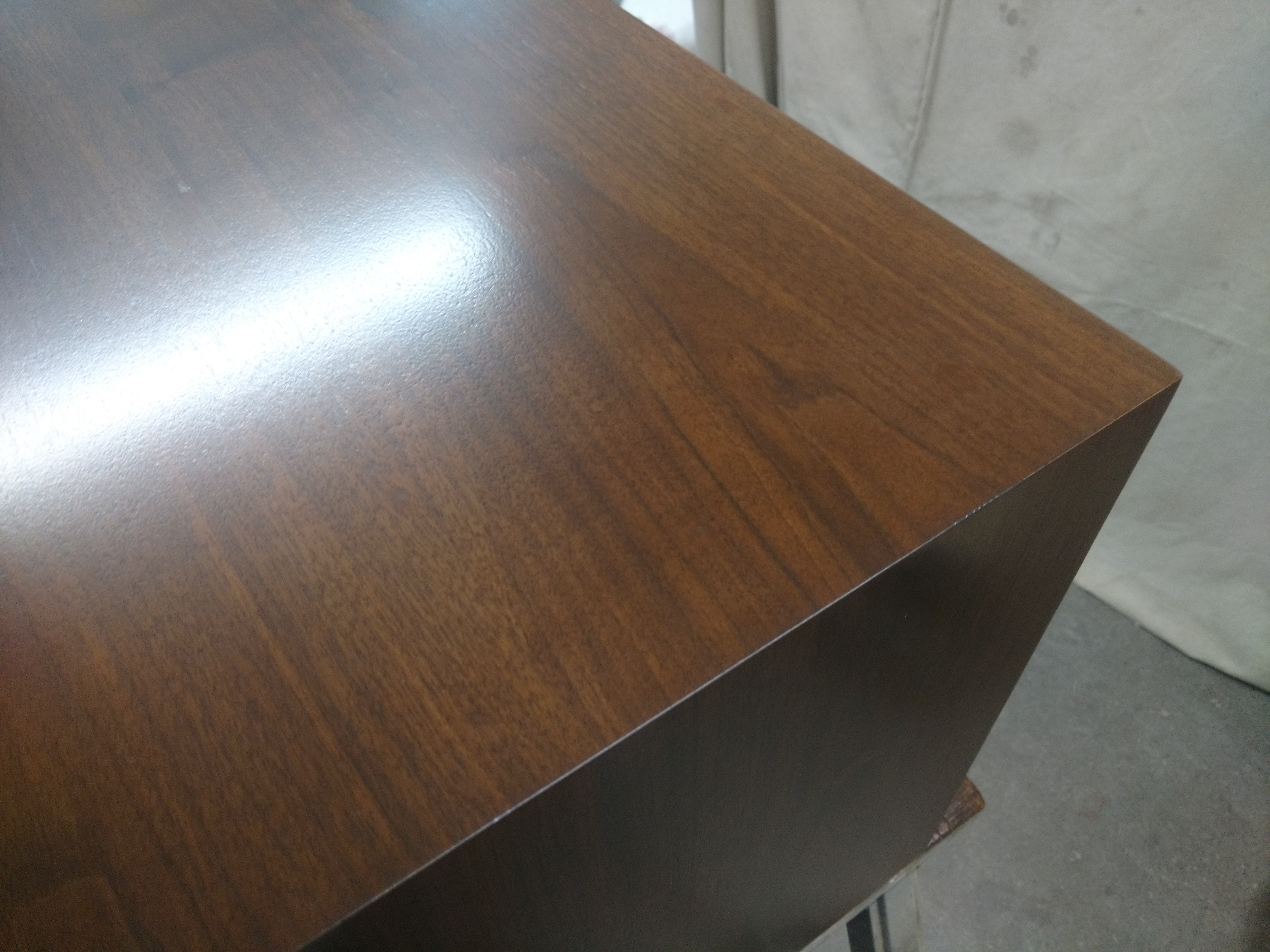 Jens Risom Credenza: Holes in top, finished repair.