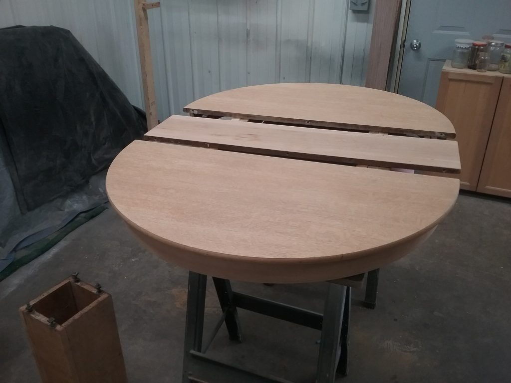 The other oak table top awaiting stain. May 2018.